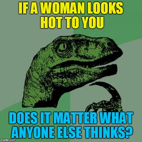 Philosoraptor Meme | IF A WOMAN LOOKS HOT TO YOU DOES IT MATTER WHAT ANYONE ELSE THINKS? | image tagged in memes,philosoraptor | made w/ Imgflip meme maker