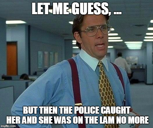 That Would Be Great Meme | LET ME GUESS, ... BUT THEN THE POLICE CAUGHT HER AND SHE WAS ON THE LAM NO MORE | image tagged in memes,that would be great | made w/ Imgflip meme maker