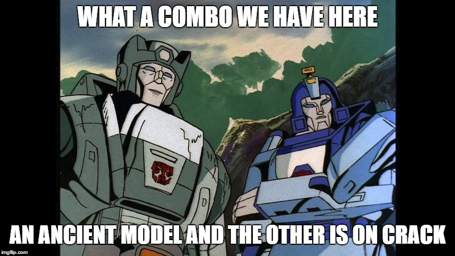 WHAT A COMBO WE HAVE HERE AN ANCIENT MODEL AND THE OTHER IS ON CRACK | image tagged in transformers g1 | made w/ Imgflip meme maker