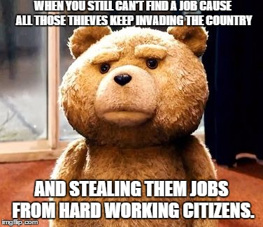 TED | WHEN YOU STILL CAN'T FIND A JOB CAUSE ALL THOSE THIEVES KEEP INVADING THE COUNTRY AND STEALING THEM JOBS FROM HARD WORKING CITIZENS. | image tagged in memes,ted | made w/ Imgflip meme maker