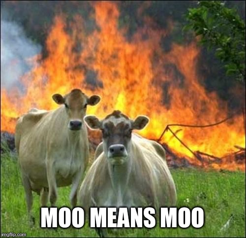 Evil Cows Meme | MOO MEANS MOO | image tagged in memes,evil cows | made w/ Imgflip meme maker