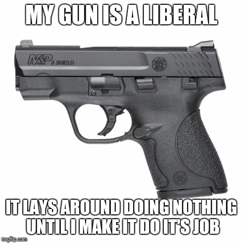 Guns  | MY GUN IS A LIBERAL IT LAYS AROUND DOING NOTHING UNTIL I MAKE IT DO IT'S JOB | image tagged in guns | made w/ Imgflip meme maker