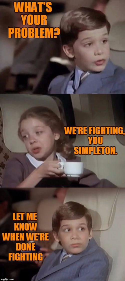 You might be in a fight and not even know it. | WHAT'S YOUR PROBLEM? WE'RE FIGHTING, YOU SIMPLETON. LET ME KNOW WHEN WE'RE DONE FIGHTING | image tagged in airplane | made w/ Imgflip meme maker