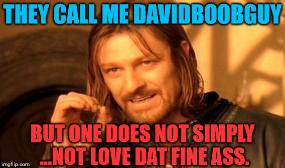 One Does Not Simply Meme | THEY CALL ME DAVIDBOOBGUY BUT ONE DOES NOT SIMPLY ...NOT LOVE DAT FINE ASS. | image tagged in memes,one does not simply | made w/ Imgflip meme maker