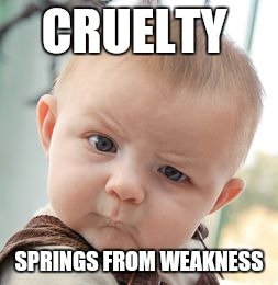 Skeptical Baby Meme | CRUELTY SPRINGS FROM WEAKNESS | image tagged in memes,skeptical baby | made w/ Imgflip meme maker