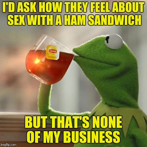 But Thats None Of My Business Meme | I'D ASK HOW THEY FEEL ABOUT SEX WITH A HAM SANDWICH BUT THAT'S NONE OF MY BUSINESS | image tagged in memes,but thats none of my business,kermit the frog | made w/ Imgflip meme maker
