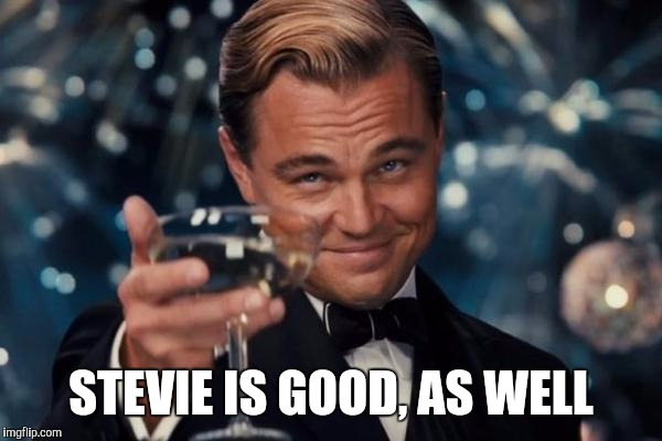 Leonardo Dicaprio Cheers Meme | STEVIE IS GOOD, AS WELL | image tagged in memes,leonardo dicaprio cheers | made w/ Imgflip meme maker