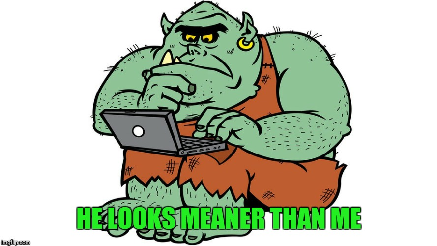 Troll | HE LOOKS MEANER THAN ME | image tagged in troll | made w/ Imgflip meme maker