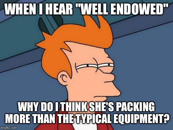 "Futurama Fry Meme | WHEN I HEAR ""WELL ENDOWED"" WHY DO I THINK SHE'S PACKING MORE THAN THE TYPICAL EQUIPMENT? 