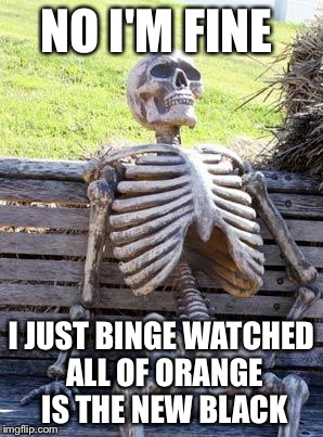 Waiting Skeleton Meme | NO I'M FINE I JUST BINGE WATCHED ALL OF ORANGE IS THE NEW BLACK | image tagged in memes,waiting skeleton | made w/ Imgflip meme maker