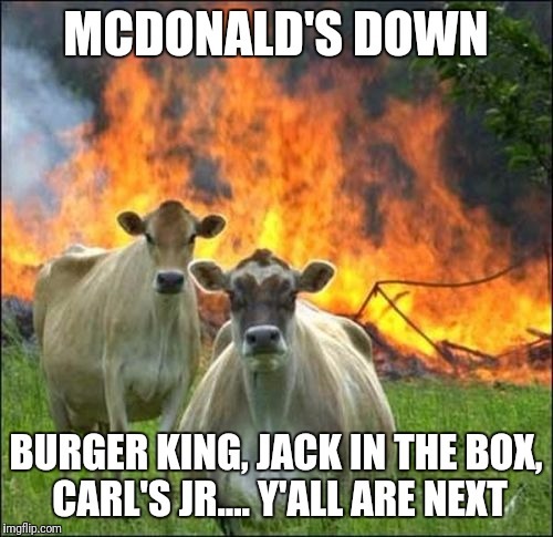 Evil Cows Meme | MCDONALD'S DOWN BURGER KING, JACK IN THE BOX, CARL'S JR.... Y'ALL ARE NEXT | image tagged in memes,evil cows | made w/ Imgflip meme maker