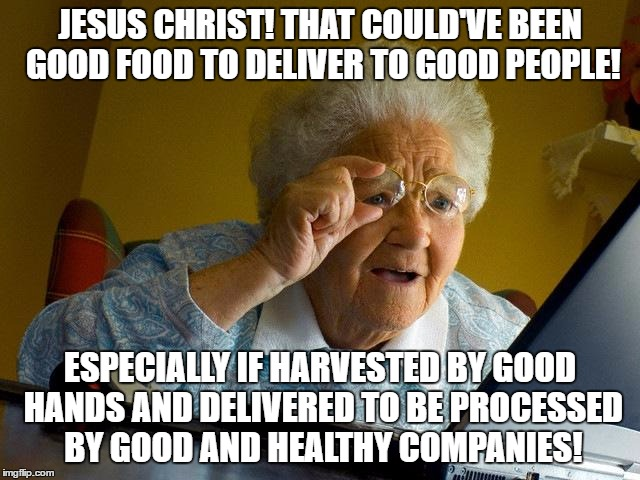 Grandma Finds The Internet Meme | JESUS CHRIST! THAT COULD'VE BEEN GOOD FOOD TO DELIVER TO GOOD PEOPLE! ESPECIALLY IF HARVESTED BY GOOD HANDS AND DELIVERED TO BE PROCESSED BY | image tagged in memes,grandma finds the internet | made w/ Imgflip meme maker