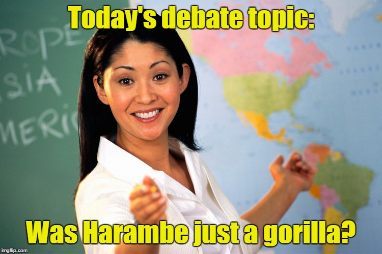 Today's debate topic: Was Harambe just a gorilla? | made w/ Imgflip meme maker