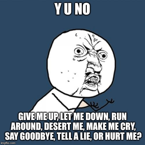 Y U No Meme | Y U NO GIVE ME UP, LET ME DOWN, RUN AROUND, DESERT ME, MAKE ME CRY, SAY GOODBYE, TELL A LIE, OR HURT ME? | image tagged in memes,y u no | made w/ Imgflip meme maker