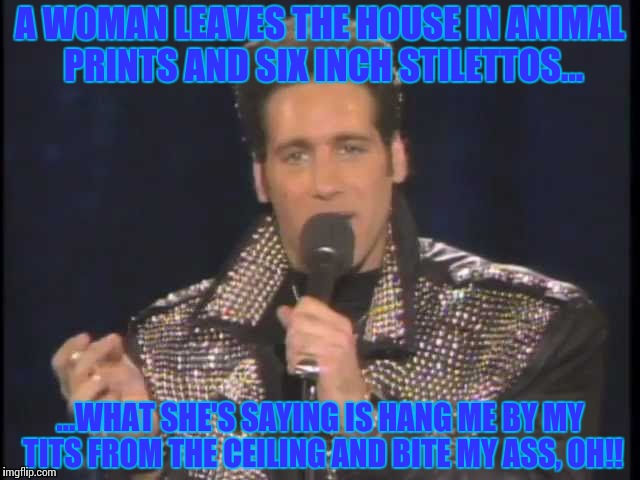 A WOMAN LEAVES THE HOUSE IN ANIMAL PRINTS AND SIX INCH STILETTOS... ...WHAT SHE'S SAYING IS HANG ME BY MY TITS FROM THE CEILING AND BITE MY  | image tagged in andrew dice clay | made w/ Imgflip meme maker