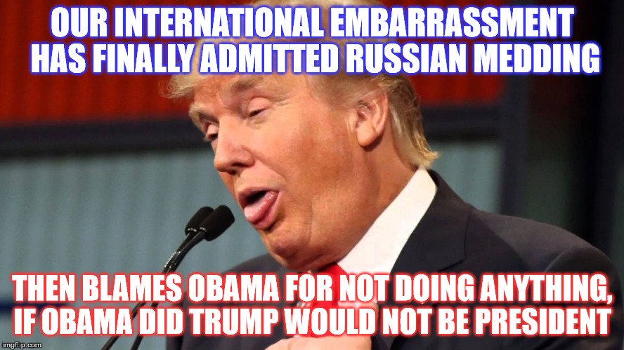 OUR INTERNATIONAL EMBARRASSMENT HAS FINALLY ADMITTED RUSSIAN MEDDING THEN BLAMES OBAMA FOR NOT DOING ANYTHING, IF OBAMA DID TRUMP WOULD NOT  | image tagged in stupid trump | made w/ Imgflip meme maker