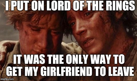 I PUT ON LORD OF THE RINGS IT WAS THE ONLY WAY TO GET MY GIRLFRIEND TO LEAVE | image tagged in lord of the rings | made w/ Imgflip meme maker