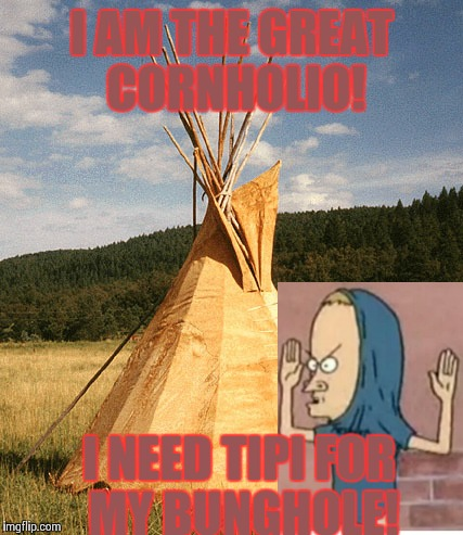 Tipi for my bunghole | I AM THE GREAT CORNHOLIO! I NEED TIPI FOR MY BUNGHOLE! | image tagged in beavis and butthead | made w/ Imgflip meme maker