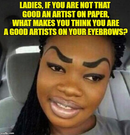 Eyebrows on Fleek | LADIES, IF YOU ARE NOT THAT GOOD AN ARTIST ON PAPER, WHAT MAKES YOU THINK YOU ARE A GOOD ARTISTS ON YOUR EYEBROWS? | image tagged in eyebrows on fleek,ladies,funny,funny memes,eyebrows | made w/ Imgflip meme maker