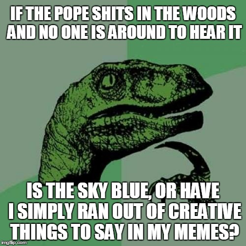 probably the latter | IF THE POPE SHITS IN THE WOODS AND NO ONE IS AROUND TO HEAR IT IS THE SKY BLUE, OR HAVE I SIMPLY RAN OUT OF CREATIVE THINGS TO SAY IN MY MEM | image tagged in memes,philosoraptor,philosophy,memeing,imgflip | made w/ Imgflip meme maker