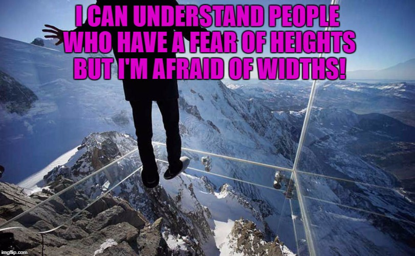 I CAN UNDERSTAND PEOPLE WHO HAVE A FEAR OF HEIGHTS BUT I'M AFRAID OF WIDTHS! | image tagged in heights,fear of heights,funny,funny memes,humor,widths | made w/ Imgflip meme maker