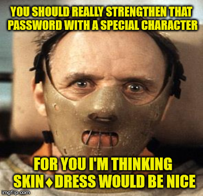 YOU SHOULD REALLY STRENGTHEN THAT PASSWORD WITH A SPECIAL CHARACTER FOR YOU I'M THINKING SKIN♦DRESS WOULD BE NICE | made w/ Imgflip meme maker