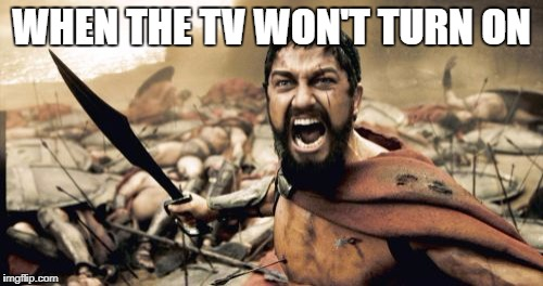 Sparta Leonidas Meme | WHEN THE TV WON'T TURN ON | image tagged in memes,sparta leonidas | made w/ Imgflip meme maker