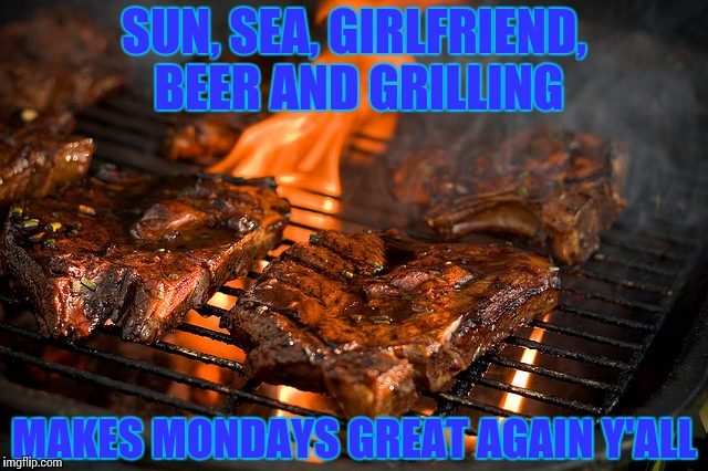 Grill | SUN, SEA, GIRLFRIEND, BEER AND GRILLING MAKES MONDAYS GREAT AGAIN Y'ALL | image tagged in grill | made w/ Imgflip meme maker