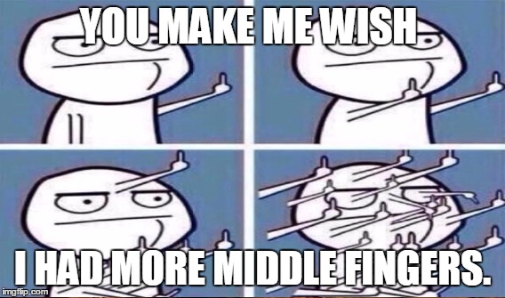 YOU MAKE ME WISH I HAD MORE MIDDLE FINGERS. | made w/ Imgflip meme maker