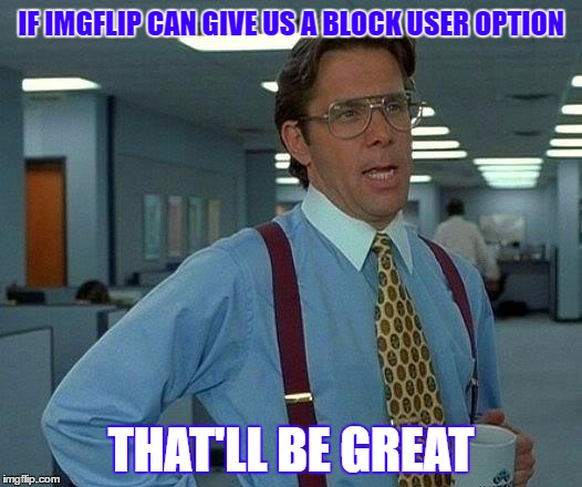 That Would Be Great Meme | IF IMGFLIP CAN GIVE US A BLOCK USER OPTION THAT'LL BE GREAT | image tagged in memes,that would be great | made w/ Imgflip meme maker
