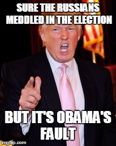 Donald Trump | SURE THE RUSSIANS MEDDLED IN THE ELECTION BUT IT'S OBAMA'S FAULT | image tagged in donald trump | made w/ Imgflip meme maker