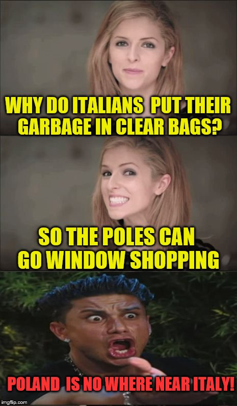 Bad Pun Anna Kendrick and Friends | WHY DO ITALIANS  PUT THEIR GARBAGE IN CLEAR BAGS? SO THE POLES CAN GO WINDOW SHOPPING POLAND  IS NO WHERE NEAR ITALY! | image tagged in memes,bad pun anna kendrick,dj pauly d | made w/ Imgflip meme maker
