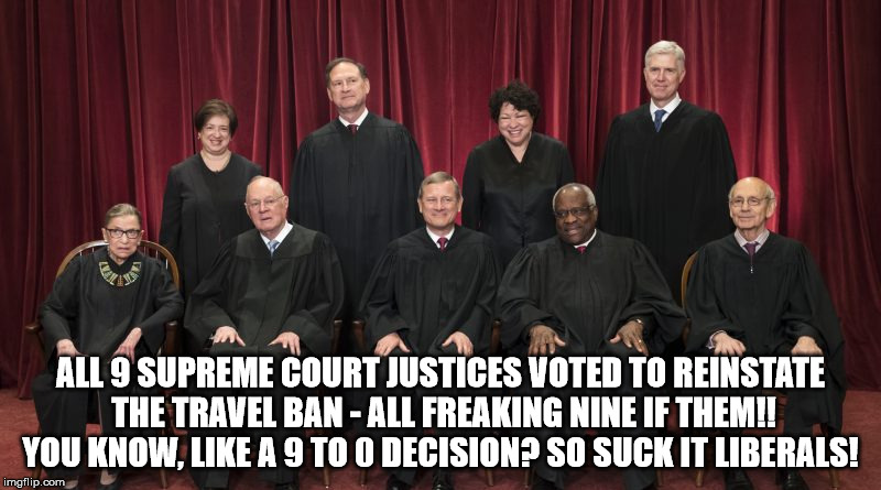 nine to zero  | ALL 9 SUPREME COURT JUSTICES VOTED TO REINSTATE THE TRAVEL BAN - ALL FREAKING NINE IF THEM!! YOU KNOW, LIKE A 9 TO 0 DECISION? SO SUCK IT LI | image tagged in supreme court,travel ban | made w/ Imgflip meme maker