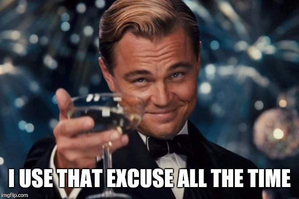 Leonardo Dicaprio Cheers Meme | I USE THAT EXCUSE ALL THE TIME | image tagged in memes,leonardo dicaprio cheers | made w/ Imgflip meme maker