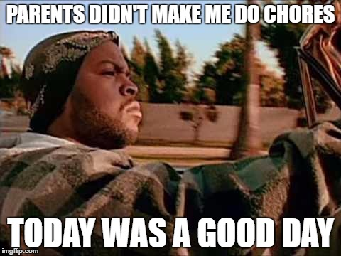 Today Was A Good Day Meme | PARENTS DIDN'T MAKE ME DO CHORES TODAY WAS A GOOD DAY | image tagged in memes,today was a good day | made w/ Imgflip meme maker
