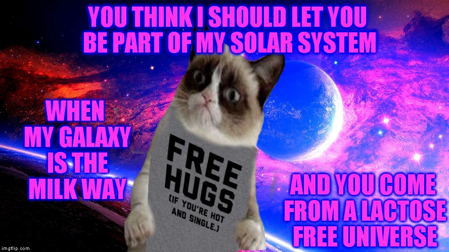 Grumpy joins a dating site.. | YOU THINK I SHOULD LET YOU BE PART OF MY SOLAR SYSTEM AND YOU COME FROM A LACTOSE FREE UNIVERSE WHEN MY GALAXY IS THE MILK WAY | image tagged in grumpy cat,universe,dating | made w/ Imgflip meme maker