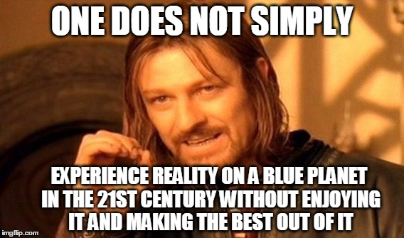 One Does Not Simply Meme | ONE DOES NOT SIMPLY EXPERIENCE REALITY ON A BLUE PLANET IN THE 21ST CENTURY WITHOUT ENJOYING IT AND MAKING THE BEST OUT OF IT | image tagged in memes,one does not simply | made w/ Imgflip meme maker
