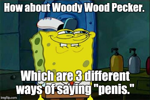 "Dont You Squidward Meme | How about Woody Wood Pecker. Which are 3 different ways of saying ""p**is."" 