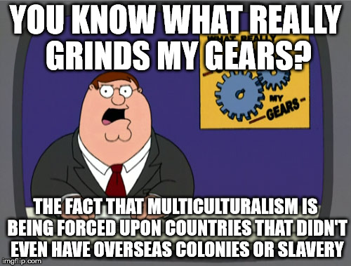 Peter Griffin News Meme | YOU KNOW WHAT REALLY GRINDS MY GEARS? THE FACT THAT MULTICULTURALISM IS BEING FORCED UPON COUNTRIES THAT DIDN'T EVEN HAVE OVERSEAS COLONIES  | image tagged in memes,peter griffin news | made w/ Imgflip meme maker