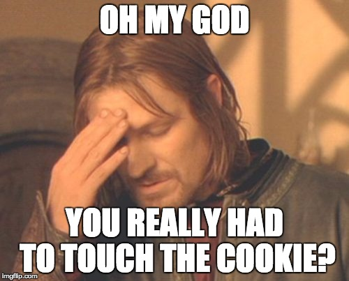 Frustrated Boromir Meme | OH MY GOD YOU REALLY HAD TO TOUCH THE COOKIE? | image tagged in memes,frustrated boromir | made w/ Imgflip meme maker