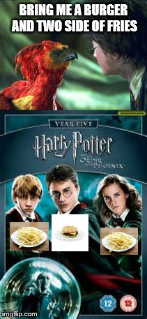BRING ME A BURGER AND TWO SIDE OF FRIES | image tagged in harry potter,fawkes,burger | made w/ Imgflip meme maker