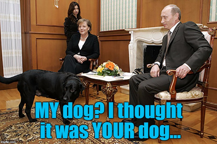 Maybe it was raining... :) | MY dog? I thought it was YOUR dog... | image tagged in putin  merkel,memes,animals,dogs,politics,putin | made w/ Imgflip meme maker