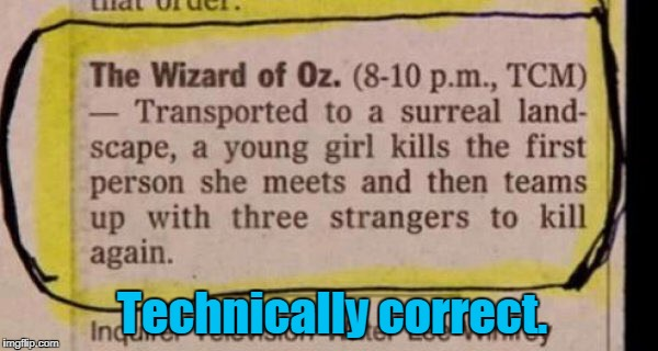 Sounds like a sci fi /action thriller. | Technically correct. | image tagged in funny,television listing,wizard of oz,science fiction | made w/ Imgflip meme maker
