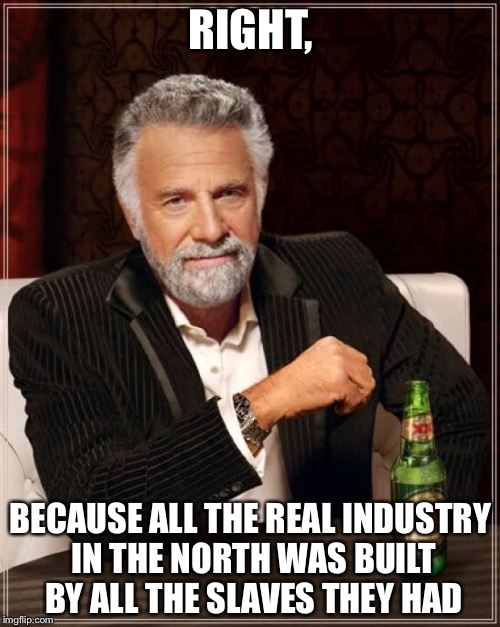 The Most Interesting Man In The World Meme | RIGHT, BECAUSE ALL THE REAL INDUSTRY IN THE NORTH WAS BUILT BY ALL THE SLAVES THEY HAD | image tagged in memes,the most interesting man in the world | made w/ Imgflip meme maker