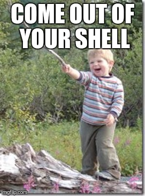COME OUT OF YOUR SHELL | made w/ Imgflip meme maker
