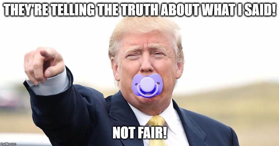 THEY'RE TELLING THE TRUTH ABOUT WHAT I SAID! NOT FAIR! | image tagged in fucktrump,maga | made w/ Imgflip meme maker