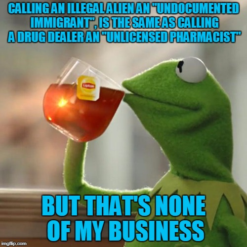 "But Thats None Of My Business Meme | CALLING AN ILLEGAL ALIEN AN ""UNDOCUMENTED IMMIGRANT"", IS THE SAME AS CALLING A DRUG DEALER AN ""UNLICENSED PHARMACIST"" BUT THAT'S NONE OF MY  