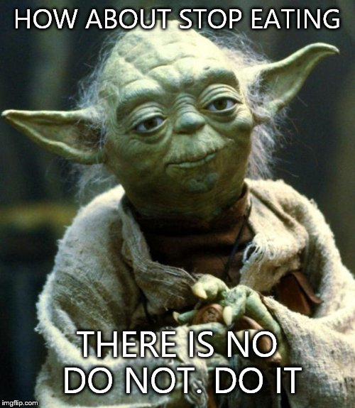 Star Wars Yoda Meme | HOW ABOUT STOP EATING THERE IS NO DO NOT. DO IT | image tagged in memes,star wars yoda | made w/ Imgflip meme maker
