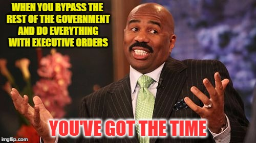 Steve Harvey Meme | WHEN YOU BYPASS THE REST OF THE GOVERNMENT AND DO EVERYTHING WITH EXECUTIVE ORDERS YOU'VE GOT THE TIME | image tagged in memes,steve harvey | made w/ Imgflip meme maker