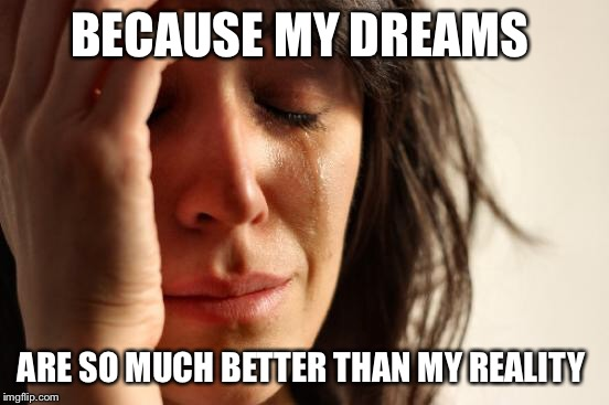 First World Problems Meme | BECAUSE MY DREAMS ARE SO MUCH BETTER THAN MY REALITY | image tagged in memes,first world problems | made w/ Imgflip meme maker